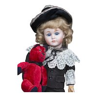 "12 1/2"" (33cm) Rare Antique German Character Bisque ""Mein Liebling"" Doll model 117 by Kammer and Reinhardt in Original Costume"