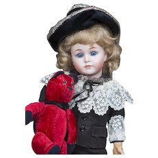 """12 1/2"""" (33cm) Rare Antique German Character Bisque """"Mein Liebling"""" Doll model 117 by Kammer and Reinhardt in Original Costume"""
