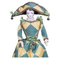 "12"" (31 cm). Rare Early Antique French Porcelain Fashion Doll with Original French Body and Harlequin Costume, c.1860"