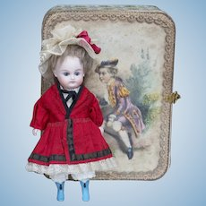 "7 1/2"" (19cm) Antique  German All-Bisque Mignonette Doll by Kestner with Rare Painted Blue Boots with Trousseau and Presentation Box"
