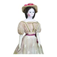 "13"" (33cm) Rare Antique  French All original Early Outstanding Papier-Mache Lady Doll in Original Gown, c.1840"