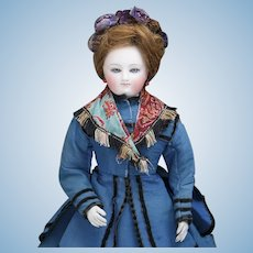 """15 1/2"""" (39cm) Rare Antique French Early Model of Gaultier Fashion Lady Doll with Original Costume"""