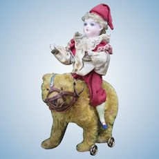Antique German Pull Toy Bisque Clown Doll with a Wheeled Bear