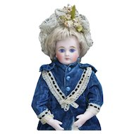 "12"" (31cm) Antique Early German Kestner Shoulderhead  Doll with Closed Mouth, bisque hands, lovely dress, c.1880"
