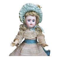 "14"" (35 cm) Antique French Very Pretty Bisque bebe Doll with Closed Mouth by Gaultier Freres in Appealing Size, with Antique Dress and Hat"