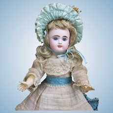 """14"""" (35 cm) Antique French Very Pretty Bisque bebe Doll with Closed Mouth by Gaultier Freres in Appealing Size, with Antique Dress and Hat"""
