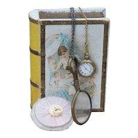 Rare Antique Original French Set  of 3 Accessories for fashion doll in Presentation Box
