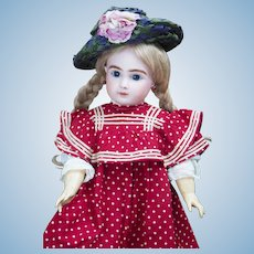 """18"""" (46 cm.) Dainty Antique French Bisque Bebe Doll, with closed mouth, Figure A, by Jules Steiner in Original Pinafore Dress"""