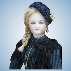 """14 1/2"""" (37cm) Antique French Bisque Smiling Mona Lisa Poupee Doll  by Leon Casimir Bru with Articulated Wooden Arms in Antique Dress, c.1867"""