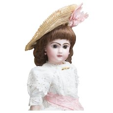 """19"""" (48cm) Antique French Jumeau Bebe Doll with Brown eyes, closed mouth, size 8,  antique clothes, c.1880"""