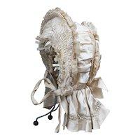 "Wonderful Antique Original French Bavolet Bonnet for Jumeau Bru Steiner Eden Bebe French doll 25-26"", c.1880"