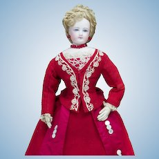 "16"" (41cm) Very Beautiful Antique French Fashion  All Original Doll Poupee by Gaultier on Original Costume, c.1875"