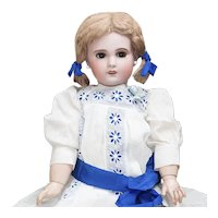 26 1/2in (67cm) SFBJ Jumeau Bebe doll in antique dress, size 12, c.1900