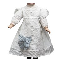 Wonderful Antique French Original White Cotton Pique Dress  and Cotton Blouse for Jumeau Bru Steiner Eden bebe doll about 26-27 in