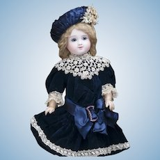 "21"" (54cm)  Antique French Bisque Beautiful Bebe Doll, Figure C, with Closed Mouth and Especially Lovely Gentile Smiling  Expression by Jules Steiner"