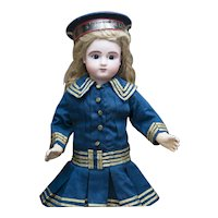 "16 1/2"" (42 cm) Antique French Bourgoin Bebe doll Series C with open mouth with two rows  of teeth in Original Sailor Costume"