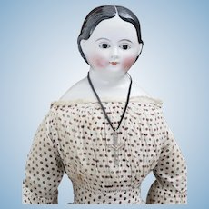 "26"" (65cm) Antique German Early China Porcelain Kloster Veilsdorf doll with brown glass eyes,  for American market, c.1865"