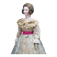 "29 1/2"" (75cm) Early Large Outstanding French Papier Mache Lady doll by Andreas Voit in Original dress, c.1840"