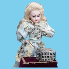"""16"""" (41cm) Antique French Musical Automaton Little Girl with Pet Mouse by Charles Rambour, the doll marked M"""