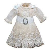 "Very beautiful Antique French Silk & Gauze Dress for Jumeau Bru Steiner Bebe Doll about 18-19"" tall"