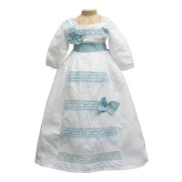 """Antique French Original White Muslin Dress for Large Fashion doll about 25-26"""" tall"""
