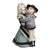 Antique German Mechanical Waltzing Couple Dolls in Original Folklore Costume