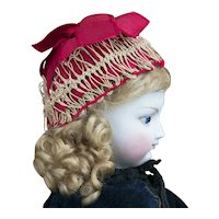 RARE Antique French Original Crocheted Net Cap Bonnet Hat for fashion Doll, circa 1870