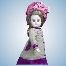 """10"""" (24 cm)  Rare  Early Small Antique Bisque Closed Mouth Doll by Kestner, c.1880"""