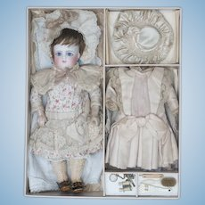 Antique French Very Beautiful , Rare and All Original Petite Bisque Bebe Doll by Schmitt  et Fils in Presentation Box with Trousseau