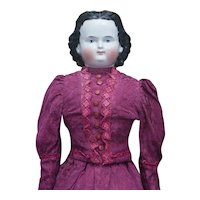 23in (60cm) Antique German China Head Doll known as an Adelina Patti, by Alt, Beck and Gottschalck, c.1865
