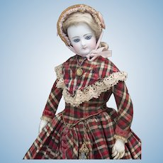 """16 1/2"""" (42cm) Antique French Size 4 Fashion Poupee Doll by Gaultier  in original costume, c.1875"""