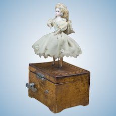 Antique All original Mechanical Dancing Doll  with Music Box by Jaboulay