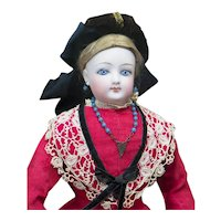 "15"" (38cm) Antique French Fashion Gaultier Doll Poupee in Original Costume, c.1885"