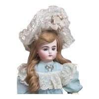 "25"" (63cm) Antique French Bisque Bebe Doll by Pintel and Godchaux with Closed Mouth in Lovely Antique Original Costume"