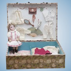 """8"""" (20cm)  Rare Small Antique French Bisque Bebe Doll by Gaultier in Presentation Case with Trousseau"""