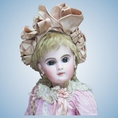 "22"" (56cm) Very Beautiful Antique French  E.J. Emile Jumeau Bebe doll with  Antique Dress and Bonnet"