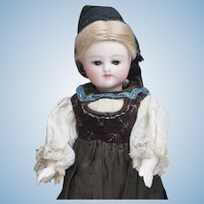 """6 1/2"""" (17cm) Rare Antique German All-Bisque Doll by Kestner with Fancy Ankle Boots, closed mouth and original costume, c.1880"""