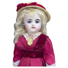 """15"""" (38cm) Antique French Eden bebe doll  by Gaultier with closed mouth, c.1888"""