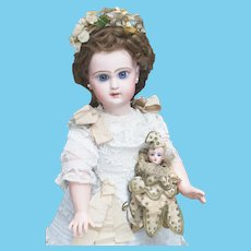 """17 1/2"""" (44cm)   Antique French Bisque  Doll Jumeau Bebe Reclame Modele with Dramatic Eyes"""