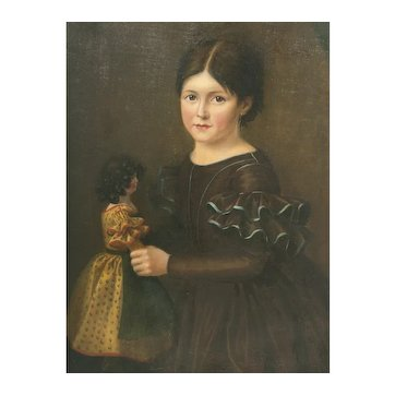 Antique French Oil Painting Portrait Girl with her fashion doll, c.1880