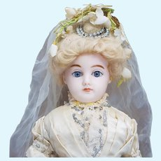 "17"" (43cm)  Antique German Wax over Paper-Mache Fashion Lady Doll in Original Wedding Gown"