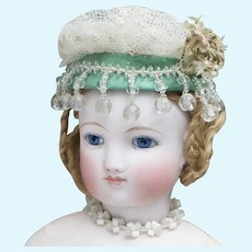 Antique French Fashion Woven Tulle Bonnet Snood Hat and Neckline in the Box for Fashion Doll  Poupee Huret Rohmer Gaultier Barrois Jumeau Bru and other