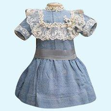 "Antique Original  Woolen and cotton dress for Jumeau Bru Steiner Eden Bebe E.J. Gaultier or German doll 22-23"" tall"