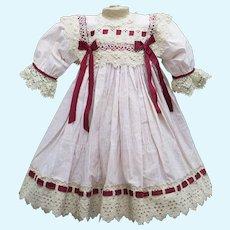 "Antique Original Stripped Cotton Dress for Jumeau Bru Steiner Eden Bebe Gaultier Doll about 25-26"" (63-66 cm)"
