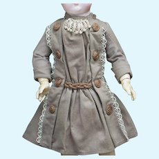 "Antique french wool  flannel dress for Jumeau Bru Steiner Eden Bebe Gaultier Doll 17-18"" tall (42-45cm)"