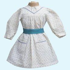 "Antique Original blue and white Cotton Dress for Jumeau Bru Steiner Eden Bebe Gautier doll about 19-20"" tall"