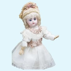 "18"" (46cm) Wonderful Antique French Gaultier Bebe, closed mouth, molded tongue, scroll and marked FG 7"