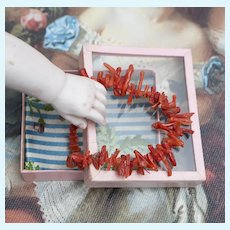 Antique French Doll Coral Beads Neckline in Original Box