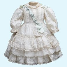 """Antique French Original  Silk & Lace Dress for Jumeau Bru Steiner  Gaultier Eden Bebe or Early German doll about 19-20"""" tall (48-51 cm), c.1890"""