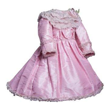"Antique French Original Crisp Taffeta Silk Dress for Jumeau Bru Steiner Eden Bebe doll about 25-26"" (63-66 cm)"